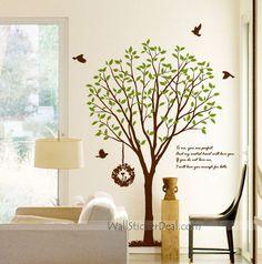 Items similar to Large Tree with Flying Birds -Vinyl Wall Decal,Sticker,Nature Design on Etsy Bird Wall Decals, Tree Decals, Nursery Decals, Wall Decal Sticker, Sweet Home Alabama, Tree Wall Art, Bird Tree, Wall Decor, Decor Ideas