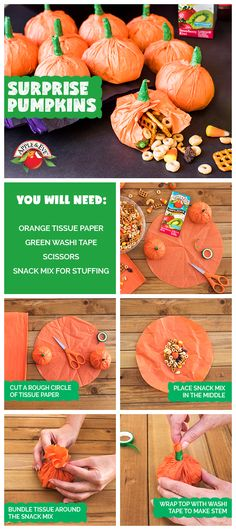 Create the perfect pumpkin party package. Fill these Surprise Pumpkin bundles with a snack mix of your choice for a party favor (or lunch bag snack!) that the whole family will love. #craft