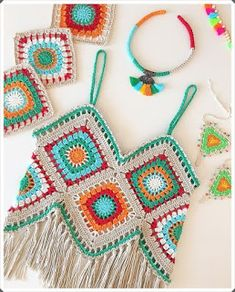 """The location where building and construction meets style, beaded crochet is the act of using beads to decorate crocheted products. """"Crochet"""" is derived fro Crochet Halter Tops, Bikini Crochet, Crochet Summer Tops, Crochet Crop Top, Crochet Motifs, Crochet Squares, Crochet Shawl, Crochet Fringe, Granny Squares"""