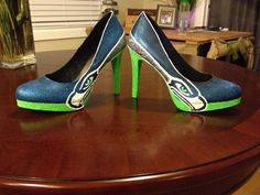 Seahwaks High Heel  Platform Pumps by brookescustomshoes on Etsy