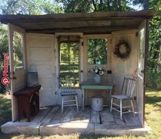 Porch made with old doors Old doors some corrugated tin and reclaimed wood and you can make yourself a little backyard porch!Old doors some corrugated tin and reclaimed wood and you can make yourself a little backyard porch!