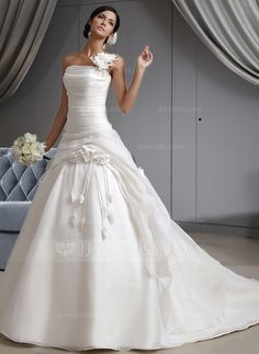 Wedding Dresses - $232.49 - Ball-Gown One-Shoulder Cathedral Train Organza Wedding Dress With Ruffle Flower(s) (002022678) http://jjshouse.com/Ball-Gown-One-Shoulder-Cathedral-Train-Organza-Wedding-Dress-With-Ruffle-Flower-S-002022678-g22678?pos=best_selling_items_2