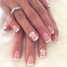 manucure mariage inspiration francaise decoration feriee ruban blanche