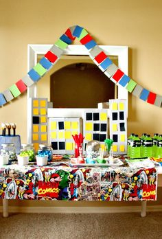 Banner, paint samples sewn together, green gatorade, and great goodies. Great ideas! Just Another Day in Paradise: Avenger Assemble: Birthday Party