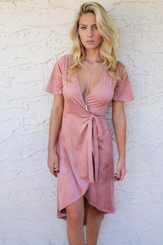 Material is Polyester and Spandex Mauve, microsuede Model Ali is 5'9 wearing size small Bust Length Small 16 48 Medium 17 49 Large 18 50