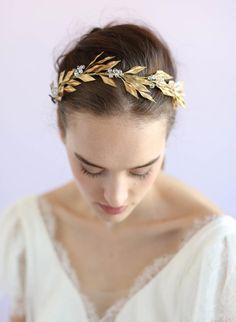 Brass fern crystal headpiece Style #653