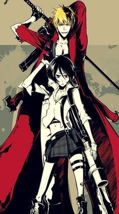 Ichigo and Rukia (Bleach and Devil May Cry crossover) Bleach Anime Art, Bleach Fanart, Bleach Manga, M Anime, Girls Anime, Shinigami, Bleach Characters, Anime Characters, Bleach Figures