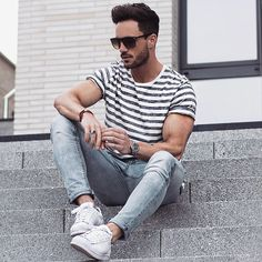 Casual style With Stripes T- Shirt For Men