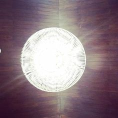 An installation of a chandelier over wooden ceiling. Under the chandellier. Collaboration for CF Design Center Wooden Ceilings, Collaboration, Chandelier, Plants, Instagram, Design, Candelabra, Flora, Plant