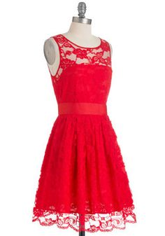 Red, Lace Dress - fun! When the Night Comes Dress in Red, #ModCloth