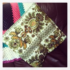 I made this cushion, out of old curtain fabric,  #upcycling #handmade #craft #retro