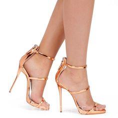 High Heels Gold, Ankle Strap High Heels, Super High Heels, Open Toe High Heels, Hot High Heels, Sexy Heels, High Heels Stilettos, Womens High Heels, Stiletto Heels