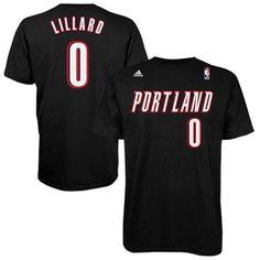 Portland Trail Blazers Damian Lillard Adidas Black T-Shirt.