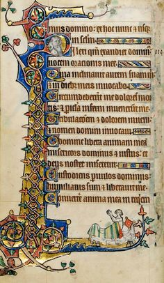 Macclesfield Psalter - This leaf is decorated with a particularly distinctive border, with a diamond-shaped interlace and eyelet design on a lavish gold background. At the foot of the text a man sits up in bed, his hands clasped in a gesture of prayer; his bed has a striped coverlet and a tasseled pillow. This image is particularly appropriate for Psalm 116