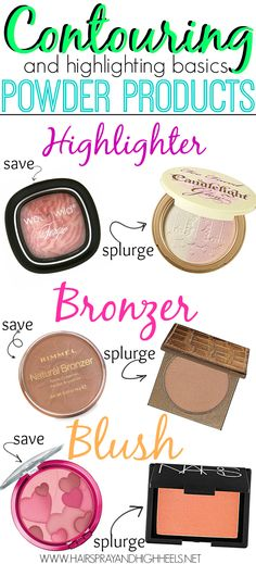 How To Highlight And Contour With Powder Products! A great list with drugstore & highend options! #beauty #makeup
