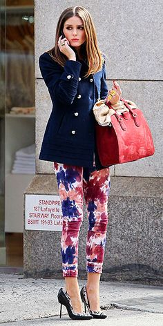 Olivia Palermo wearing flower pants