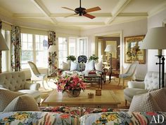 Living Room by designer Joseph Kremer and architect Peter H. Cook in Southampton, New York.  Photography by Durston Saylor | Architectural Digest