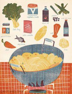Scrumptious and warming illustration by Barbara Dziadosz Editorial Illustration, Digital Illustration, Graphic Illustration, Recipe Drawing, Pinterest Instagram, Food Journal, Food Drawing, Kitchen Art, Kitchen Drawing