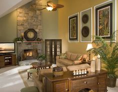 How to: Decorate With High Ceilings  -this looks similar to the layout of our family room--long and narrow