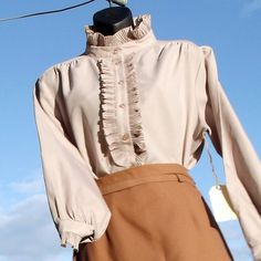 Vintage 70's Victorian Style Blouse with High by VintageSquirrels, $24.00