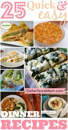 25 Quick and Easy Dinner Recipes I want to try the enchilada casserole and the baked potato casserole