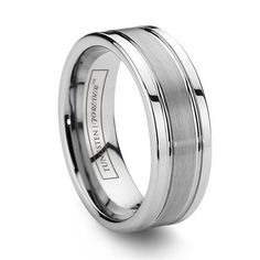 Men's Tungsten Wedding Ring Brushed & Grooved..sweet, this is smooth looking and on sale!!MYAE FOR MY GROOM