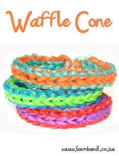 Monster Tail Waffle Cone Loom Band Bracelet Tutorial