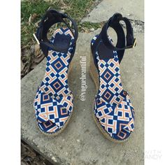 Tory Burch Blue & Orange Geometric Print Wedges Beautiful condition Tory Burch blue & orange geometric print wedges! • 100% Authentic • Size 8 B • NO TRADES • Tory Burch Shoes Wedges