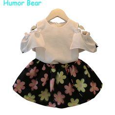 Humor Urso roupas meninas 2016 das Crianças meninas Roupas de Bebê Menina T-shirt + Flor saia terno conjunto de roupas