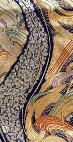 japaneseaesthetics:  Detail of silk obi (sash). Late 20th century, Japan