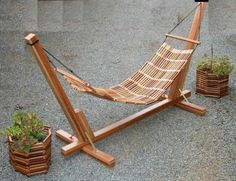 Need a hammock support like this! Bamboo Furniture, Wood Pallet Furniture, Simple Furniture, Outdoor Furniture, Best Hammock With Stand, Wooden Hammock Stand, Metal Work Bench, Hanging Swing Chair, Baby Hammock