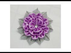 ▶ How to make kanzashi flower, Diy ribbon flowers, Kanzashi flores de cinta - YouTube