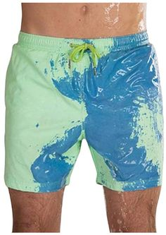 2019 Hot swimwear woman mans color temperature changes beachwear man sexy shorts touch water and change color swimsuit Trunks Swimwear, Swim Trunks, Summer Shorts, Swim Shorts, Green To Blue, Color Yellow, Beach Pants, Mens Boardshorts, Man Swimming