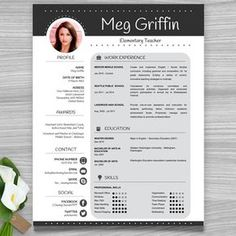Teacher Resume Template  Sleek Gray And White  Teacher Resume