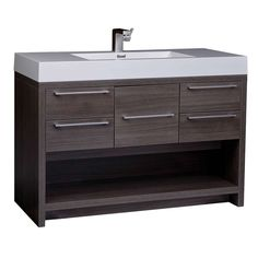 "47"" Modern Wall-mount Bathroom Vanity Set Grey Oak Free Shipping Finish TN-L1200-GO - Conceptbaths.com"