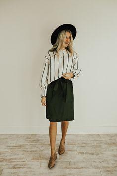 Olive Paper Bag Pencil Skirt | ROOLEE