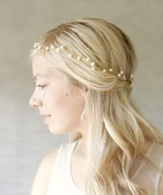 Gold and Ivory Pearl Bridal Halo Hair Vine. by ElevenSkiesStudio