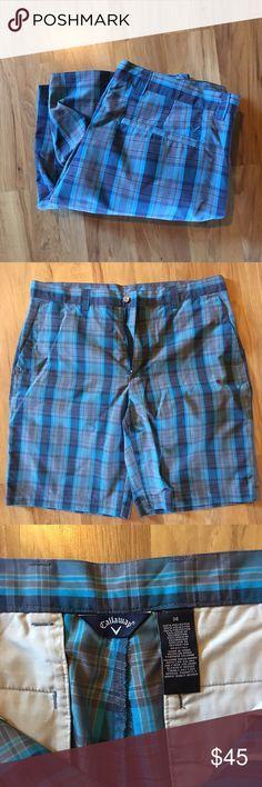 NWOT Men's Callaway Shorts NWOT  Callaway Men's Blue Plaid Shorts Brand New Never Worn Callaway Shorts Flat Front