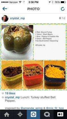 21 Day Fix Meal - Turkey Stuffed Bell Pepper. So yummy & so easy!