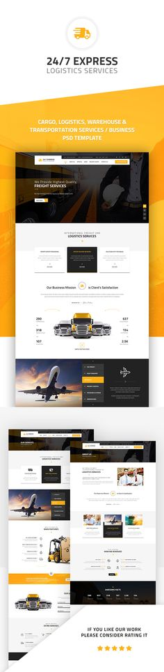 24/7 Express Cargo Services is a Multipurpose HTML suitable for cargo, logistics, trucking, transportation companies, warehouse and freight business. This HTML Template comes with fully layered...