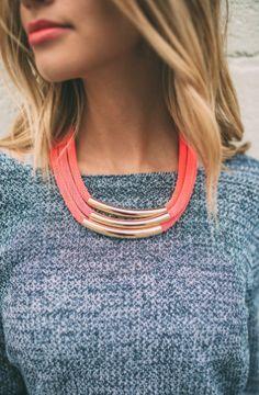 tubular neon necklace