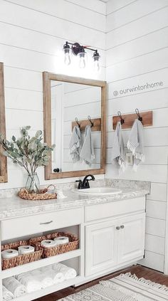 Bathroom Renos, Bathroom Renovations, Home Renovation, Home Remodeling, Shiplap Master Bathroom, Guest Bathroom Remodel, Master Bathroom Remodel Ideas, Wood Mirror Bathroom, Pottery Barn Bathroom