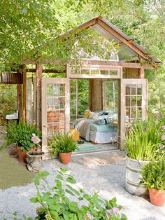 She Sheds Are the New Man Caves Amazing little garden house from Better Homes Gardens. Could do a guest house in the back yard! The post She Sheds Are the New Man Caves appeared first on Garden Easy. Outdoor Rooms, Outdoor Gardens, Outdoor Living, Outdoor Bedroom, Outdoor Sheds, Rustic Outdoor, Outdoor Kitchens, Outdoor Seating, Outdoor Office