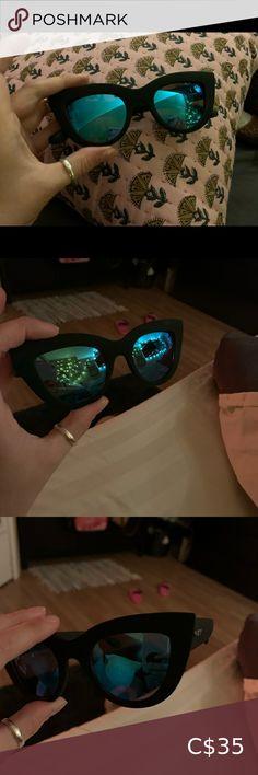 Quay Australia Sunglasses Kitti 9/10 Condition. Blue reflective lenses. Cat eye shape. Super flattering! Quay Australia Accessories Sunglasses Mirrored Aviator Sunglasses, Mirrored Aviators, Quay Sunglasses, Sunglasses Accessories, Other Accessories, Women Accessories, Rose Gold Glasses, Denim Cap, Desi Perkins