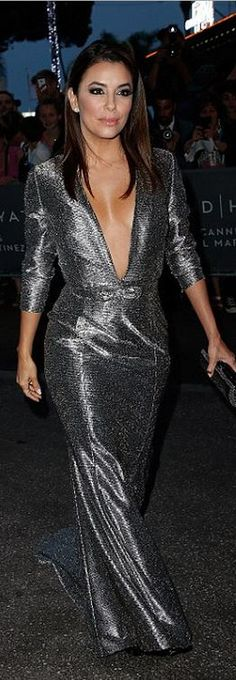 Eva Longoria's silver gown and black platform pumps