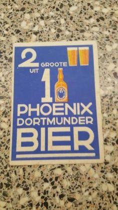 Heel oud vloeiblad van phoenix bier 2 groote glazen uit 1 pul