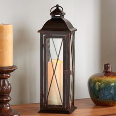 Siena Candle Lantern: flameless candle automatically operates 6h on/18h off. Antique finish is simply stunning! #CandleLantern #Lantern #BatteryPowered #DecorativeLighting #MoodLighting