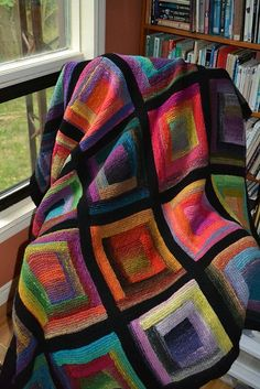 Paintbox Log Cabin Blanket pattern by Katherine Keyes – Knitting Blanket Squares Loom Knitting, Knitting Patterns Free, Free Knitting, Crochet Patterns, Free Pattern, Crochet Quilt, Crochet Home, Knit Or Crochet, Knitted Afghans