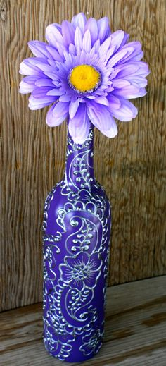 Hand Painted Wine bottle Vase Up Cycled Purple by LucentJane