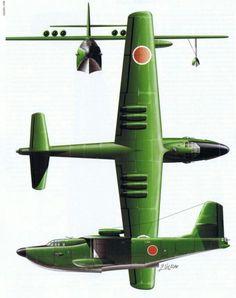 K200飛行艇 日本海軍が計画した飛行艇。 主翼上部に六基のジェットエンジンを搭載し、アメリカに到達可能な長距離飛行艇として計画された。 しかし、時期が太平洋戦争後期であったこともあって計画は進まず、設計図が完成する前に終戦を迎えた。
